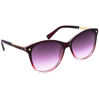 Stacle Leather Temple Design Over-sized Women's Sunglasses (Brown Frame) -STD...