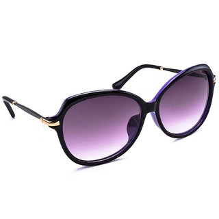 Stacle Over-sized Bug Eye Women's Sunglasses (Black/Purple Frame) -STD1546