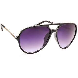 Stacle Metal Temple Modernized Aviator Unisex Sunglasses (Black Frame) (ST18471)