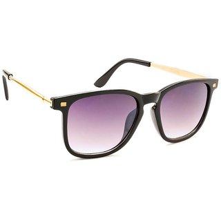 Stacle Keyhole Bridge Metal Temple Arms Rectangular Unisex Sunglasses (Black ...