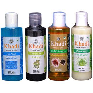 Khadi 1 Aqua cool face wash and 1 Bhringraj Oil and 1 Saffron Reetha Protein and 1 Lemon Grass Comditioner Combo