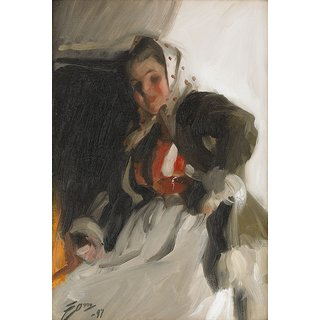 The Museum Outlet - Anders Zorn - By the fireplace 1897 - Poster Print Online Buy (24 X 32 Inch)