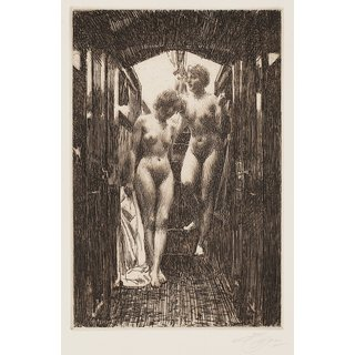 The Museum Outlet - Anders Zorn - Cabin (etching) 1917 - Poster Print Online Buy (24 X 32 Inch)
