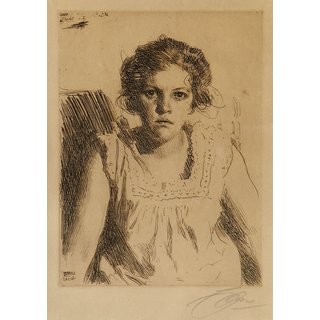 The Museum Outlet - Anders Zorn - Frida (etching) 1914 - Poster Print Online Buy (24 X 32 Inch)