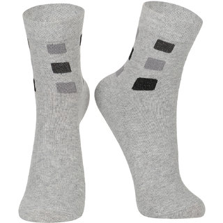DUKK Men's Geometric Print Grey Glean Length Socks