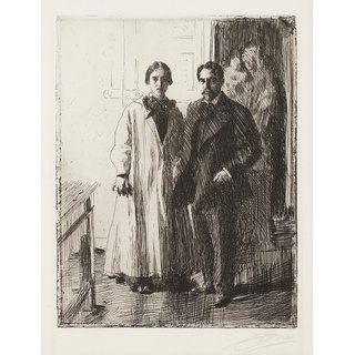 The Museum Outlet - Anders Zorn - Mr. and Mrs Atherton Curtis (etching) 1906 - Poster Print Online Buy (24 X 32 Inch)