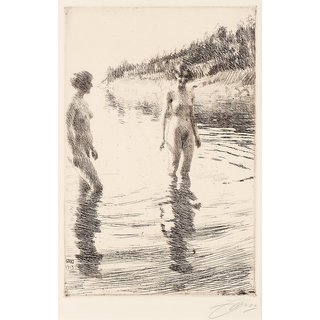 The Museum Outlet - Anders Zorn - Shallow (etching) 1913 - Poster Print Online Buy (24 X 32 Inch)