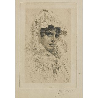 The Museum Outlet - Anders Zorn - Spanish Lady (etching) 1884 - Poster Print Online Buy (24 X 32 Inch)