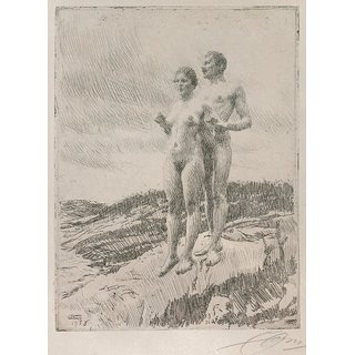 The Museum Outlet - Anders Zorn - The Two (etching) 1916 - Poster Print Online Buy (24 X 32 Inch)