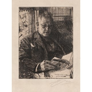 The Museum Outlet - Anders Zorn - The travel companion (Mr. Charles Deering) (etching) 1904 - Poster Print Online Buy (24 X 32 Inch)