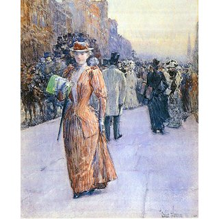 The Museum Outlet - New York street scene by Hassam - Poster Print Online Buy (24 X 32 Inch)