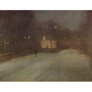 The Museum Outlet - Nocturne Grey and Gold Snow in Chelsealg by Whistler - Poster Print Online Buy (24 X 32 Inch)