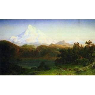 The Museum Outlet - Mt. Hood Oregon by Bierstadt - Poster Print Online Buy (24 X 32 Inch)