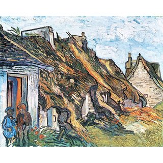 The Museum Outlet - Thatched hut in Chaponval by Van Gogh - Poster Print Online Buy (24 X 32 Inch)