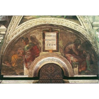 The Museum Outlet - The ancestors of Christ - Bezel with Ezekial, Manasseh and Amon by Michelangelo - Poster Print Online Buy (24 X 32 Inch)