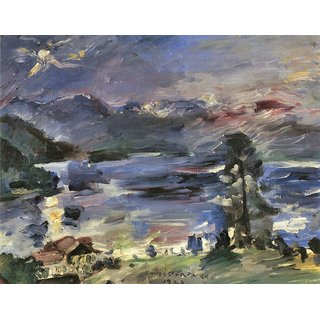 The Museum Outlet - Walchensee with rising moon by Lovis Corinth - Poster Print Online Buy (24 X 32 Inch)