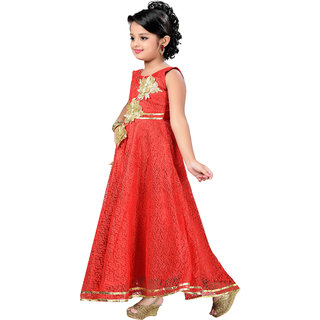 b4f92cdab78 Aarika Girls Self Design Flower Net Fabric Party Wear Ball Gown