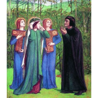 The Museum Outlet - Dante Alighieri series - The Meeting of Dante and Beatrice in Paradise, 1853 - Poster Print Online Buy (24 X 32 Inch)