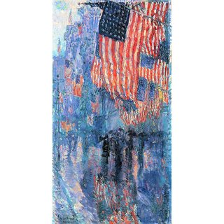The Museum Outlet - Street in the rain by Hassam - Poster Print Online Buy (24 X 32 Inch)