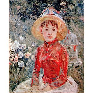 The Museum Outlet - Young girl with cage by Morisot - Poster Print Online Buy (24 X 32 Inch)