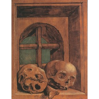 The Museum Outlet - Two Skulls in a Window Niche. c.1520 - Poster Print Online Buy (24 X 32 Inch)
