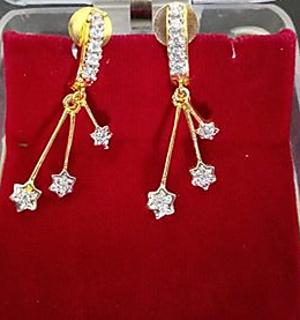 Elements Blue Feminine Flower Designer Crystal Earrings for Girls and Women by YELLOW CHIMES