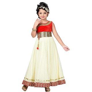 3796cf815ee Aarika Girls Self Design Net Fabric Party Wear Ball Gown