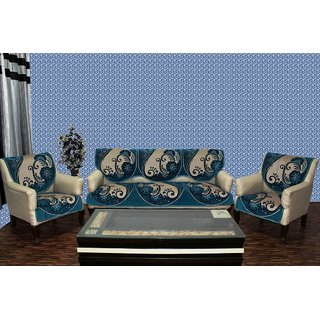 Chenille sofa cover treat blue