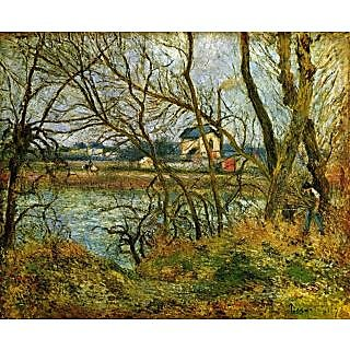 The Museum Outlet - Grey day on the banks of the Oise at Pontoise by Pissarro - Poster Print Online Buy (24 X 32 Inch)