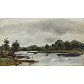 The Museum Outlet - Landscape with River Banks - Poster Print Online Buy (30 X 40 Inch)
