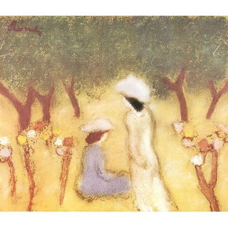 The Museum Outlet - Under the Hollyhocks by Joseph Rippl-Ronai - Poster Print Online Buy (24 X 32 Inch)