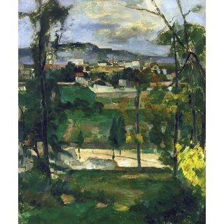 The Museum Outlet - Village behind Trees, Ile de France, 1879 - Poster Print Online Buy (30 X 40 Inch)