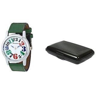 Danzen wrist watch for mens with Black card case -cdz-416