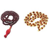 Rosewood 108 Beads Maala + Origional Natural 8mm Rudraksha Mala Japa Mala With Gold Plated Beads