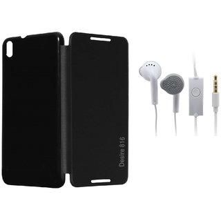 RealDealz Durable PU Leather Flip Cover For Htc Desire 816 (Black)+Handsfree for Samsung and all 3.5 mm jack Mobile  Accessory Combo