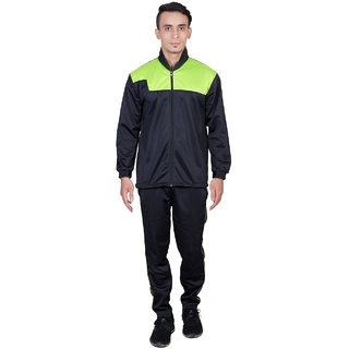 Dee Mannequin Black  Green Polyester Tracksuit For Men