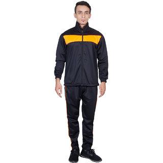 Dee Mannequin Black  Orange Polyester Tracksuit For Men
