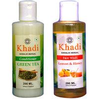 Khadi 1 Green Tea Conditioner And 1 Lemon  Honey Face Wash Combo