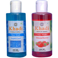Khadi 1 Aqua Cool Face Wash And 1 Strawberry Face Wash Combo
