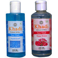 Khadi 1 Aqya Cool Face Wash  And 1 Rose Water  Face Wash Combo