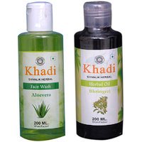 Khadi 1 Aloevera  Face Wash  And 1 Bhringraj  Herbal Oil  Combo