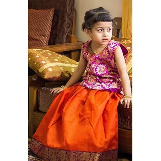 Orange and Magenta Ghagra choli