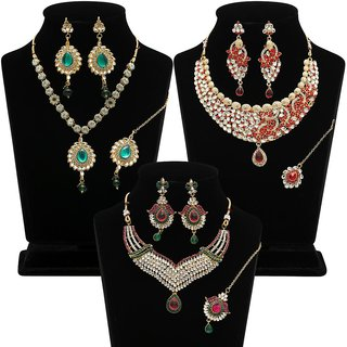 The Pari Gold Plated Traditional/Ethnic Combo of 3 necklace sets for Women