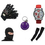Combo Of Pro Biker Gloves  Arm Sleeves Face Mask Watch Free Smiley Key Chain.