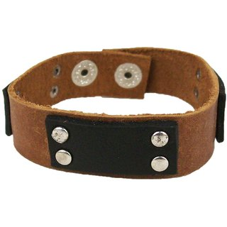 Sakhi Styles men's handmade genuine leather bracelet with 3d design adjustable size with metal stud closer.