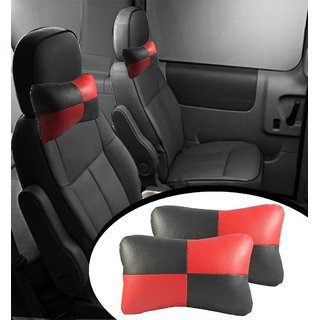 DLT Designer Car Seat Neck Cushion Pillow - Red and Black Colour