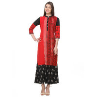 Varanga Red Printed Cotton Stitched Kurti