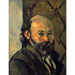 The Museum Outlet - Self-portrait in front of wallpaper by Cezanne - Poster Print Online Buy (24 X 32 Inch)