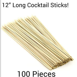 100 Pcs 12 Long Bamboo Cocktail Party Sticks! Kebab Skewers, Long Toothpicks!