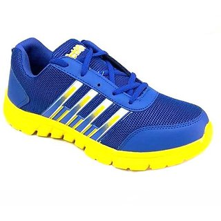Action Men'S Blue  Yellow Lace Up Sport Shoes